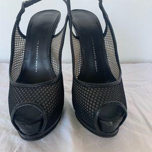 Giuseppe Zanotti Black fishnet platform heels
